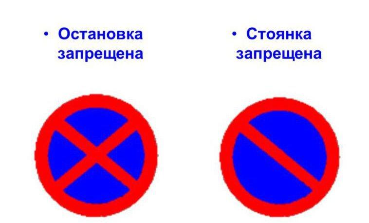 Обозначение запрета стоянки и остановки