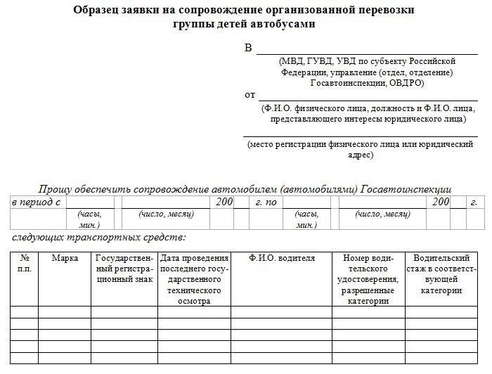 Документ для организованной перевозки детей