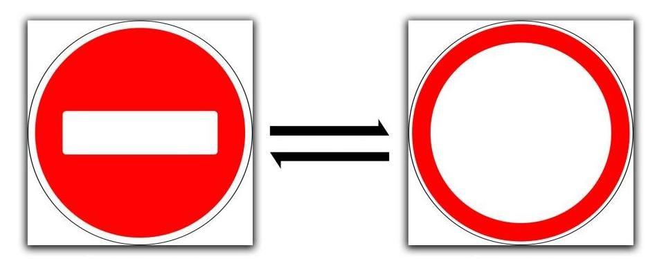 сходство и различия в предписаниях знаков.