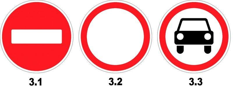 различия между знаками 3.1, 3.2 и 3.3